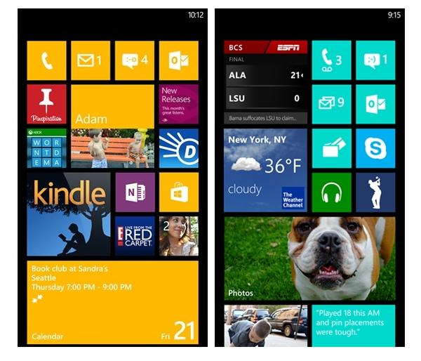 Стартовый экран Windows Phone после обновления